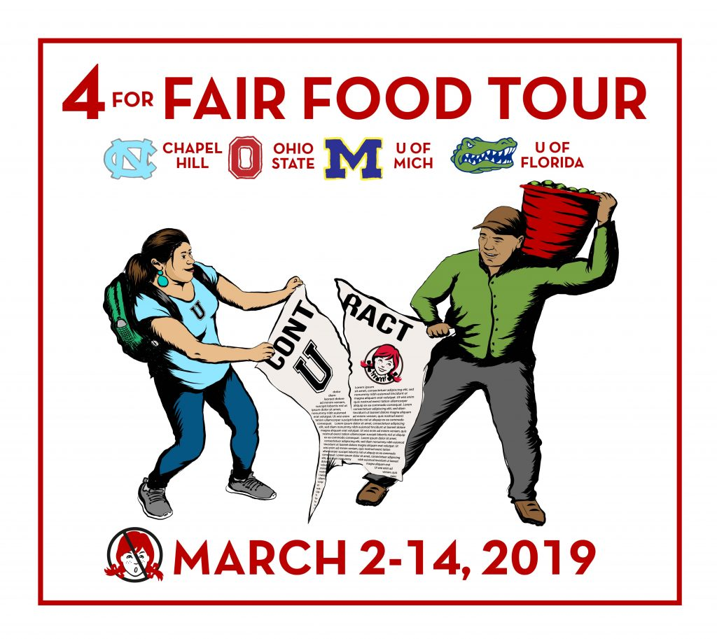 Brand-new 4 for Fair Food Tour logo, hot off the presses, featuring the four universities where farmworkers and consumer allies will take action this coming March.