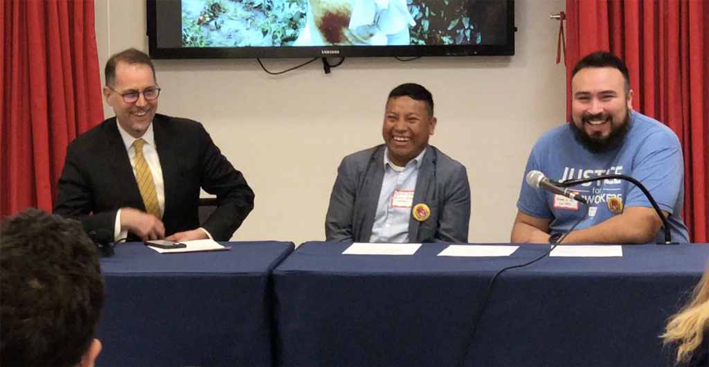 NYC Council Member Mark Levine (left) declares his support for the Fair Food Program on a panel with CIW's Oscar Otzoy (center) and the Alliance for Fair Food's Uriel Perez (right), presenting at an event convened by the New York Workers Circle (January 2020).