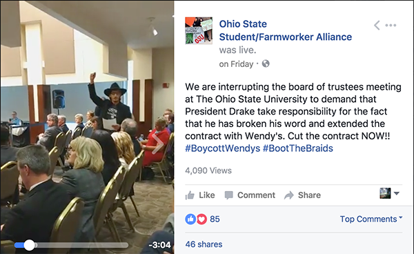 """Keep your word! Cut the contract with Wendy's!"""" OSU students"""