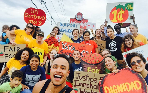 The Alliance for Fair Food in Orlando -- headed up by the YAYAs -- takes a great big selfie at Tuesday's Wendy's protest in Orlando