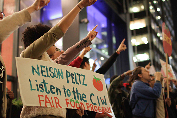 CIW members, Fair Food allies outside the office of Wendy's Board Chairman Nelson Peltz in New York City