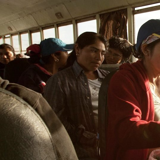 Farmworkers in immokalee wait abroad a crowded bus in the early morning  to leave for the fields.