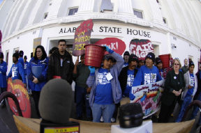 Farmworker members during the 2004 Taco Bell Truth Tour in Montgomery, Alabama
