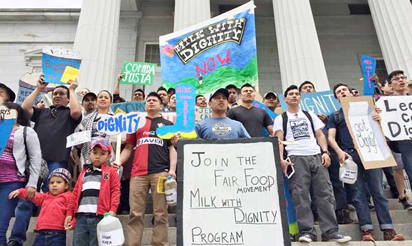 Dairy workers in Vermont in 2015 at the launch of the Fair Food Program-inspired Milk with Dignity Campaign.