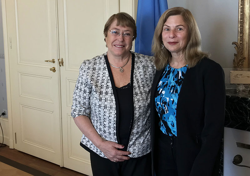 United Nations High Commissioner on Human Rights, Michelle Bachelet (left), during a meeting in Geneva, Switzerland, with the Fair Food Standards Council's Judge Laura Safer Espinoza on the Fair Food Program.