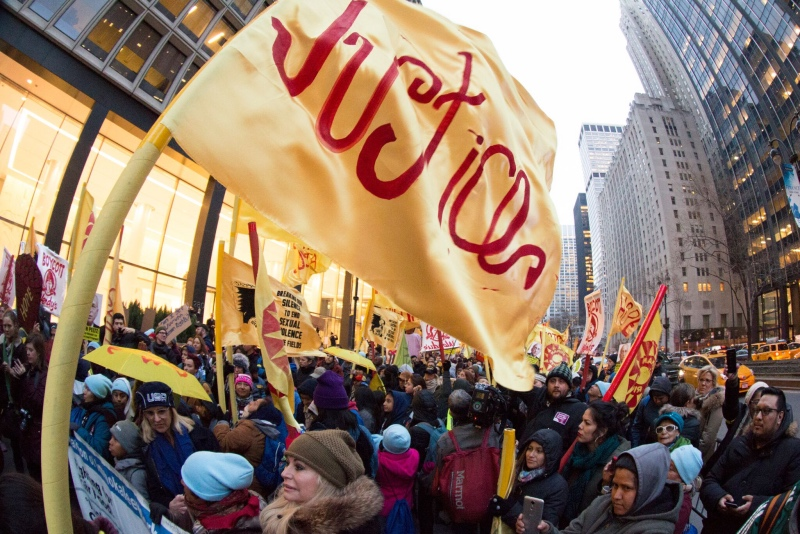 Thousands march in the streets of New York City during the Time's Up Wendy's March in March 2018.