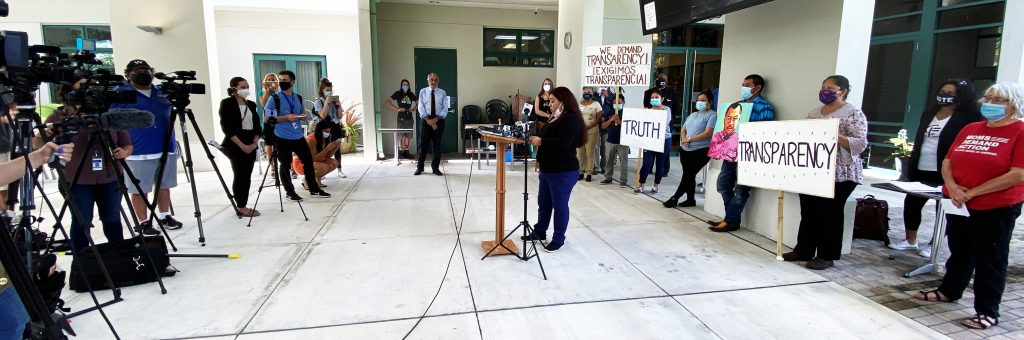 Marisa Andrade, Nicolas Morales' stepdaughter, speaks to press from across the region, demanding the truth about the night Nicolas was shot and killed by Collier County Sheriff's Deputies.
