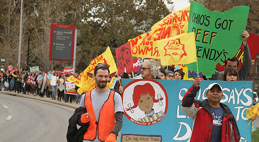 Over 200 protesters marched on Wendy's in Columbus, OH, to demand that the hamburger giant join the rest of the fast-food leaders in advancing the human rights of farmworkers in its supply chain.